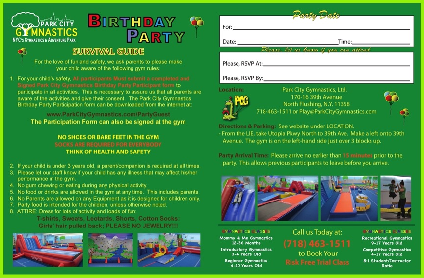 Guest Birthday Party Waiver Forms of Park City Gymnastics